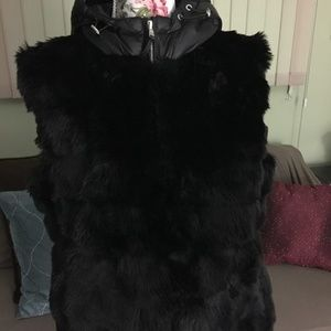 Michael Kors Black Faux Fur Hoddied Vest Size L